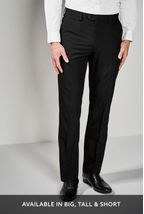 Black Regular Fit Suit: Trousers