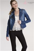 Lipsy Denim Biker Zip Jacket