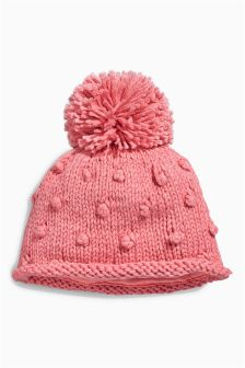 Coral Bobble Hat (0-18mths)
