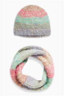 Pastel Stripe Hat And Snood Set (Older Girls)