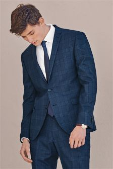 Blue Check Skinny Fit Suit: Jacket