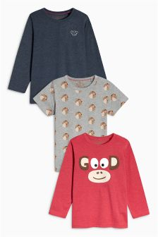 Coral Mixed Sleeve Monkey Tops Three Pack (3mths-6yrs)