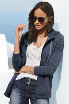 Navy Zip Through Hoody