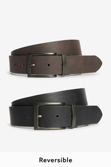 Brown And Black PU Reversible Belt
