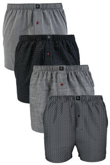 Black Geo Woven Boxers Four Pack