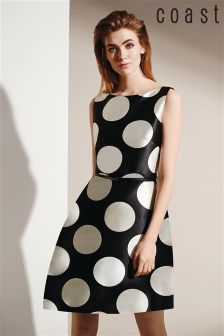 Black & White Coast Milana-May Spot Print Fit And Flare Dress