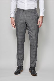 Grey Prince Of Wales Check Slim Fit Suit: Trousers