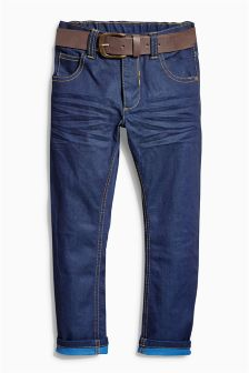 Dark Blue Regular Belted Jeans (3-16yrs)