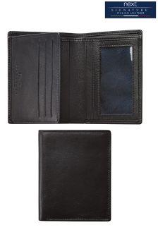 Black Signature Italian Leather Multi Card Wallet