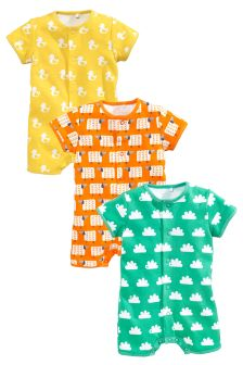 Bright All Over Print Rompers Three Pack (0mths-2yrs)