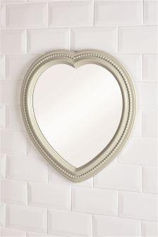 Grey Heart Wall Mirror