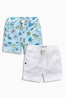 White/Seaside Print Shorts Two Pack (3mths-6yrs)