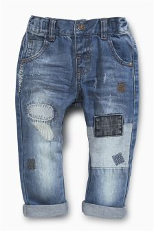 Mid Blue Patch Jeans (3mths-6yrs)