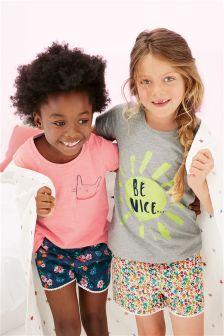 Multi 'Be Nice' Woven Short Pyjamas Two Pack (3-16yrs)