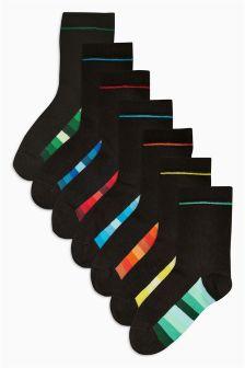 Black Tonal Stripe Socks Seven Pack (Older Boys)