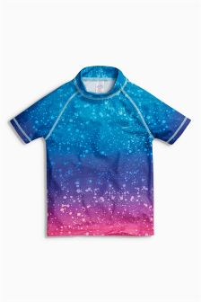 Blue/Pink Splat Print Rash Vest (3-16yrs)