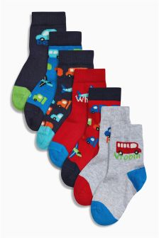 Red/Blue Bright Transport Socks Seven Pack (Younger Boys)