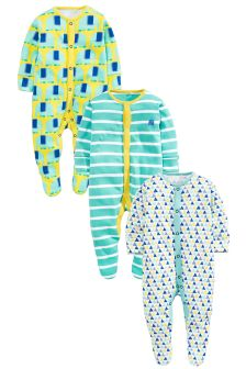 Bright Elephant Sleepsuits Three Pack (0mths-2yrs)