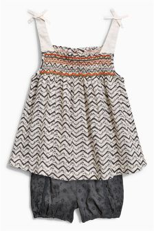 Black & White Zig Zag Cami Set (3mths-6yrs)
