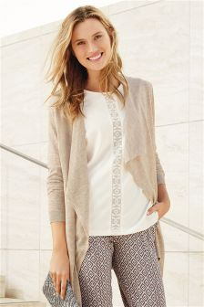 Merino Wool Blend Waterfall Cardigan