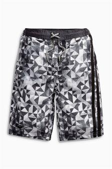 Black Geo Swim Shorts (3-16yrs)