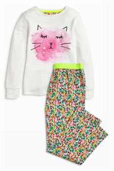 Multi Cat Face And Printed Woven Bottom Pyjamas (3-16yrs)