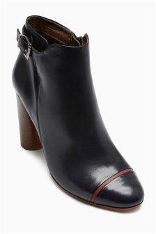 Navy Polished Leather Ankle Boots