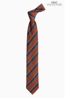 Signature Orange/Navy Stripe Tie