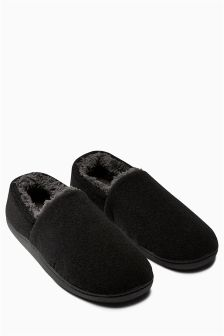 Black Memory Foam Closed Back Slipper