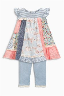 Multi Patchwork Dress And Leggings Set (0mths-2yrs)