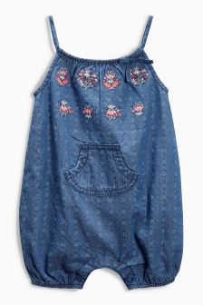 Denim Embroidered Dungarees (0mths-2yrs)
