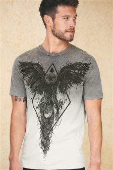 Grey Dip Dye Graphic T-Shirt