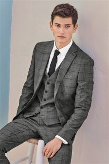 Grey Prince Of Wales Check Slim Fit Suit: Jacket
