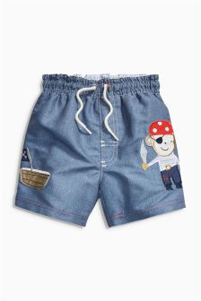 Blue Pirate Swim Shorts (3mths-6yrs)