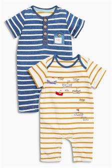 Navy/Ochre Boat Rompers Two Pack (0mths-2yrs)