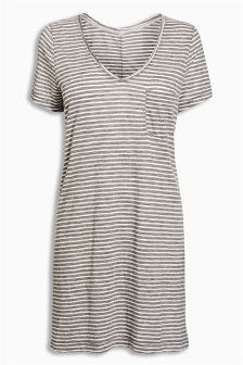 Grey/White Linen Mix Longline T-Shirt