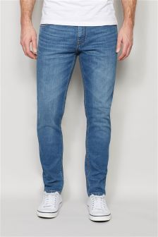 Mid Wash Jeans With Stretch