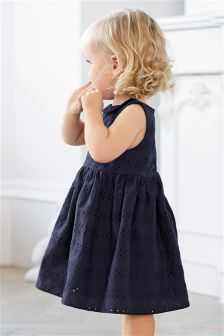 Navy Broderie Dress (0mths-2yrs)