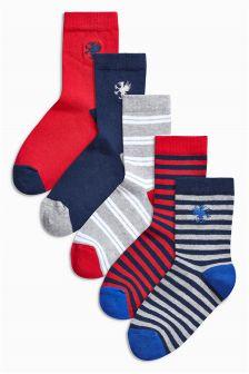 Five Pack Red/Navy/Grey Stripe Socks (Older Boys)