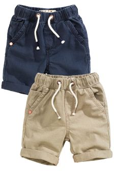 Navy/Stone Linen Blend Shorts Two Pack (3mths-6yrs)