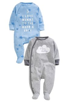 Two Pack Blue Cloud Mum And Dad Sleepsuits (0-2yrs)