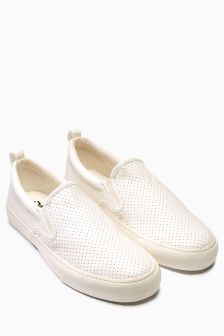 White Perforated Slip-On