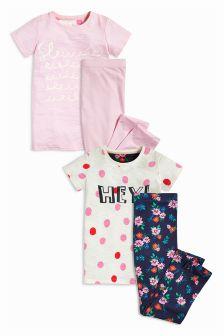 Pink/Navy Slogan Legging Pyjamas Two Pack (3-16yrs)