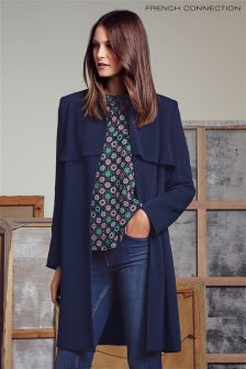 Navy French Connection Rikki Crepe Coat