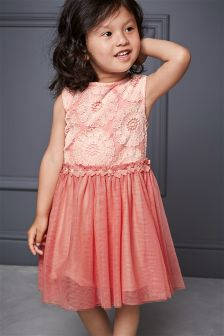Pink Floral Lace Party Dress (3mths-6yrs)