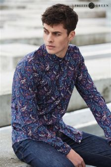 Navy Pretty Green Paisley Print Shirt