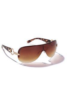 Gold (Metal) Tortoiseshell Effect Visor Sunglasses