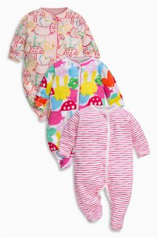 Pink All Over Print Sleepsuits Three Pack (0mths-2yrs)