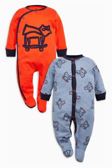 Orange/Navy Character Sleepsuits Two Pack (0mths-2yrs)