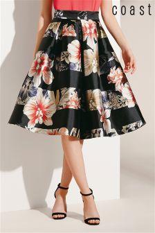 Black Coast Palma Print Full Skirt